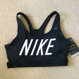 Nike Black Classic Sports Bra with White Logo